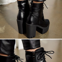 Cleated Soles Chunky Platform Walker Boots