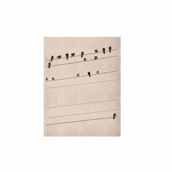 """Qing Ji """"Birds on Wire"""" Black White KESS Naturals Canvas (Frame not Included)"""