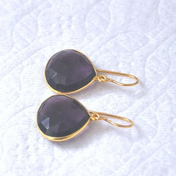 Amethyst Earrings, Gold Earrings, Genuine Amethyst, Teardrop Earrings, Febraury Birthstone, Gemstone Jewelry
