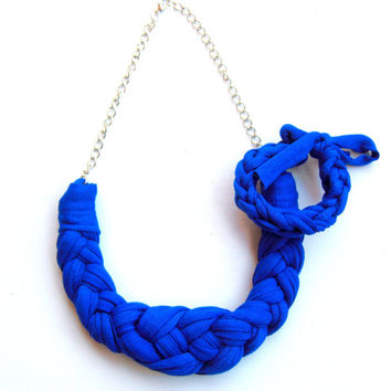 Tshirt yarn Necklace, Cotton Necklace, Blue Necklace, Fiber Necklace, Knotted Necklace, Braided Necklace, Cotton Choker, Blue choker