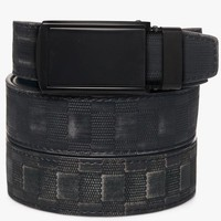 Distressed Black Checkered Leather Belt