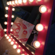 Light up vanity mirror called Pink Birthday Cake. Perfect gift any day of the year! Optional bulbs, dimmer and mount.See Listing.