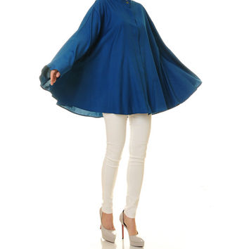 Royal Blue Kaftan Top Tunic / Poncho Blouse / Batwing Shirt / Long Sleeved Blouse / Plus Size Kaftan Blouse - One Size Fits All (8093)