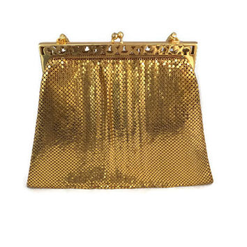 Whiting and Davis Gold Mesh Purse - Original Box, Art Deco, Metal Mesh, Intricate Frame, Gold Metal Strap, Gold Evening Bag