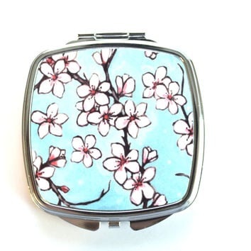 Cherry Blossom Print Compact Mirror