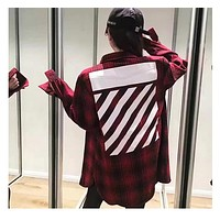 Off White Lattice Religious Streaks Long-Sleeved Shirt M--XXL