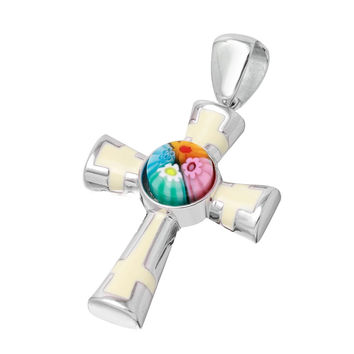 "Sterling Silver Multicolor Glass Murano Millefiori Glass Cross With White Enamel Accents (Free 18"" Chain)"