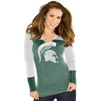 Michigan State Spartans Touch by Alyssa Milano Women's Touch Formation Thermal Long Sleeve Shirt - Green/Gray