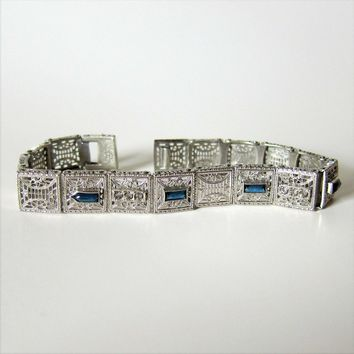 Antique Etched Filigree Sapphire and Crystal Paste Bracelet - Signed