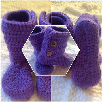 Toddler Booties Sizes 5 & 6, 2-3yrs (7-9) with Button Closure, MORE COLORS Hand Crochet Shoes, Featuring two Buttons on each Boot
