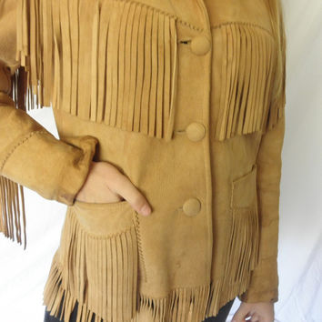 RARE 1960s Jo O Kay Corral Sportswear Western Leather Fringe Jacket Women Size 14 Lined and Supple Rockabilly
