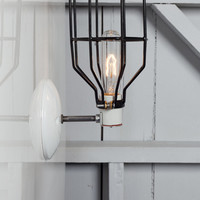Industrial Wall Light - Black Wire Cage Wall Sconce Lamp