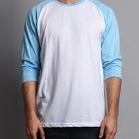 Men's Baseball T-Shirt TS900 (White/Sky Blue) - B12C