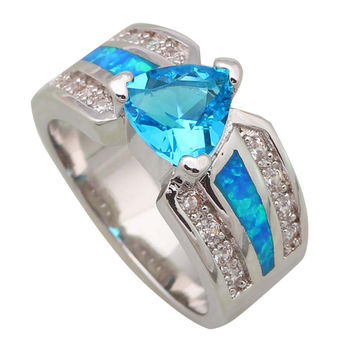 Blue 7.5 Distinctive Fashion Wedding women ring Blue Topaz Sapphire Blue Opal silver jewelry ring size 5 6 7 8 9 R452