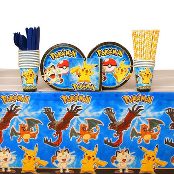 Pokemon Party Pack for 16 Guests: Straws Plates Napkins Cups Cutlery and Tabl...
