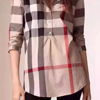 Autumn Women's Fashion Classics Plaid Long Sleeve Blouse [6513969543]