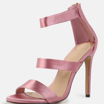 Triple Strap Satin High Heels DUSTY PINK | MakeMeChic.COM