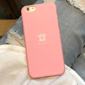 Cute little crown pink phone case for iPhone 6 6S 6plus 6Splus 1008J01