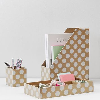 Printed Desk Accessories, Natural Kraft & White Dot