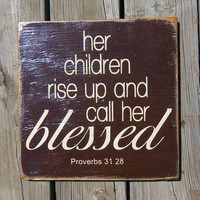 Typography Wall Art Her Children Wood Sign by 13pumpkins on Etsy