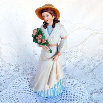 Bisque Southern Lady, 9 inches, Charlotte Rose, 1468, Homco, Victorian Lady, Bisque Porcelain, Home Interiors, Lady Figurine, White Dress,