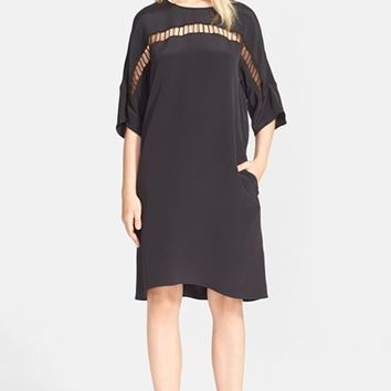 Women's 3.1 Phillip Lim Openwork Trim Silk Shift Dress,