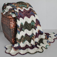 Afghan -Crochet Chevron Blanket- Gem Tones and Soft White