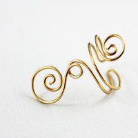 Gold Wire Wrapped Finger Ring, Adjustable Spiral Swirl Ring FRG100
