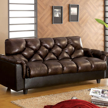 Bowie contemporary style dark leather like fabric upholstered convertible futon sofa bed with arms and overstuffed seating