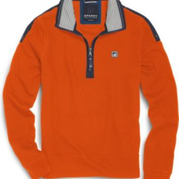 Sperry Top-Sider Nautical 1/4 Zip Sweater Orange, Size L  Men's
