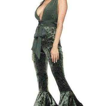Della Multi Way Velvet Extreme Double Flare Leg Jumpsuit