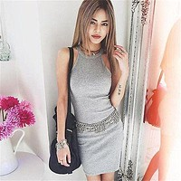 Women Solid Bandage Dress Bodycon Mini Sexy Club Dress