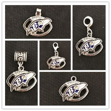 USA Football Team Baltimore Ravens Dangle Charms For DIY Necklace & Bracelet & Pendant Jewelry 20pcs/lot