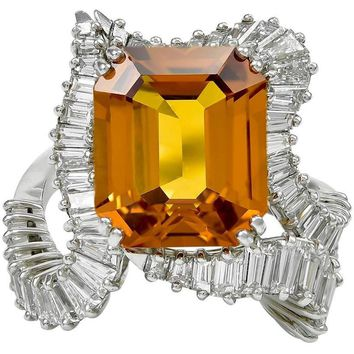 1960s Piaget Orange Sapphire Diamond Platinum Ring