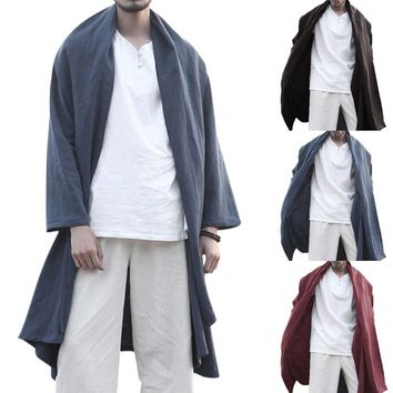 2018 Autumn Men Trench Long Cloak Cardigan Chinese Style Vintage Lapel Long Sleeve Men Outerwear Solid Loose Retro Cape Coat 3XL