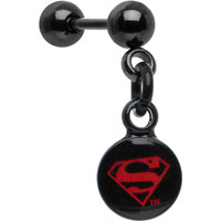 Officially Licensed Black Plated Red Superman Dangle Cartilage Earring | Body Candy Body Jewelry