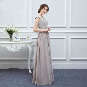 new arrival silver grey color a line cap sleeve applique floor length long chiffon bridesmaid dress