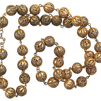 Sterling Silver Filigree Bead Necklace Gold Washed