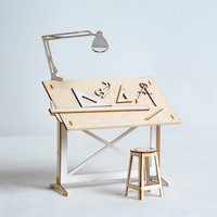 Miniature Drafting Table and Drawing tools Model Kit, Architect Designed