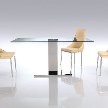 Genoa Dining Table with clear tempered glass top on polished stainless steel frame