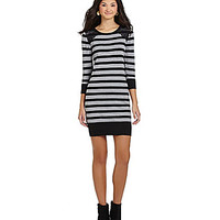 I.N. San Francisco Lace-Shoulders Striped Sweater Dress - Heather Grey