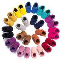 Tassel Newborn Shoes Baby Boy Girl Soft Soled Non-slip Crib Shoes Infant PU Suede Leather Moccasins  Sales