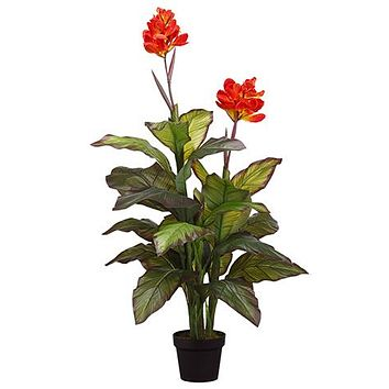 "Red Fake Blooming Tropical Canna Floor Plant in Pot - 48"" Tall"