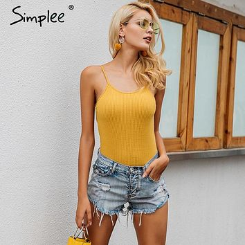 Simplee Sexy pink strap knitting bodysuit women Casual  2017 autumn femme jumpsuit romper black short overalls knitted playsuit