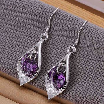 Hot Sale!!Free Shipping 925 jewelry silver plated   Earring,Fashion silver plated  Jewelry Purple Stone Shell Earrings SMTE207