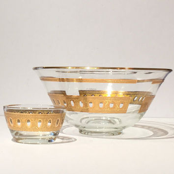 Vintage Pair of Culver Gold Trim Glass Chip & Dip Bowls, Culver Antigua Serving Bowl, Chip and Dip Bowl by Culver Glass, Hollywood  Regency
