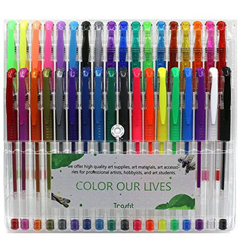 Trasfit Multicolor Gel Pens Set Colored Ink Pen - Set of 36, Metallic, Neon, Glitter, Neon Color Pens with Comfort Grip for Coloring, Glitter, Painting and Drawing