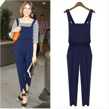 Straps Pleated Jumpsuit With Slit