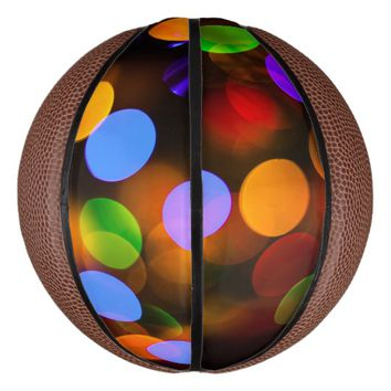 Multicolored Christmas lights. Basketball