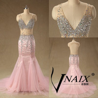 Sexy Pink Crystal Beaded Mermaid Sexy SeeThrough V Neck Open Key Hole Back Prom dress Evening Dress Wdding Party Dress